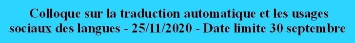 Colloque sur la traduction automatique et les usages sociaux des langues - 25 novmebre 2020